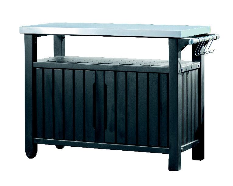 Keter Beistelltisch / Grilltisch 2-türig graphit 123x54x90cm