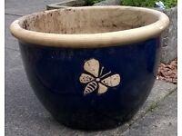 Glazed outdoor plant pot