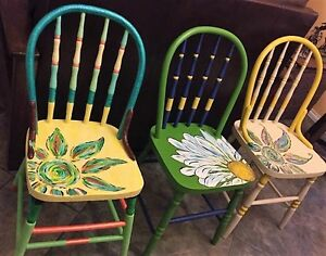 Vintage hand painted old wood chairs