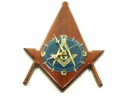 Wood MASONIC Handmade Wall Clock COMPASS and SQUARE Design 15tall 1992 Masons