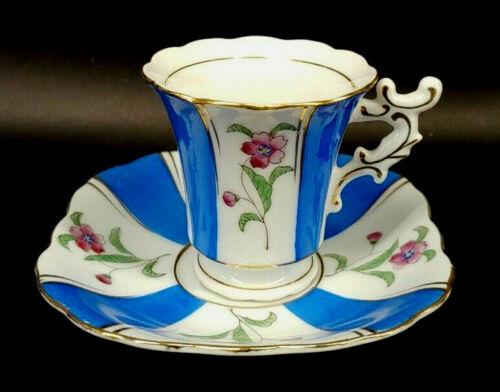 Hand Painted Blue & White Striped Geranium Flower Cup & Saucer mAAB
