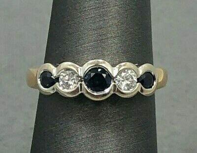 Sapphire and Diamonds 14k Yellow Gold Ring Size 6.5
