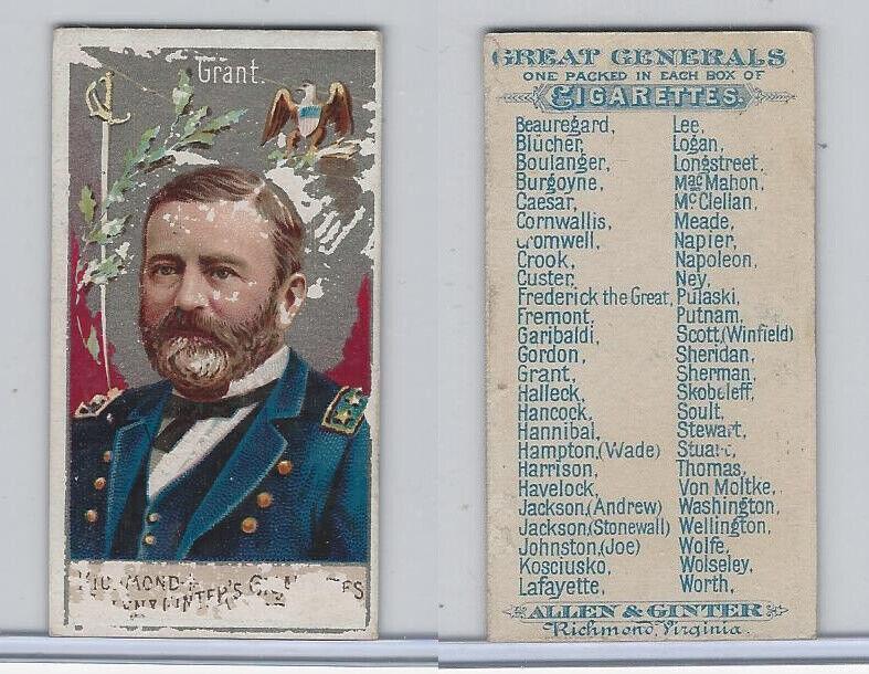 N15 Allen & Ginter, Great Generals, 1886, Grant, President
