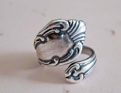 - ANTIQUE VINTAGE STYLE SILVER PLATED FLORAL SPOON RING SIZES 6-10 ADJUSTABLE