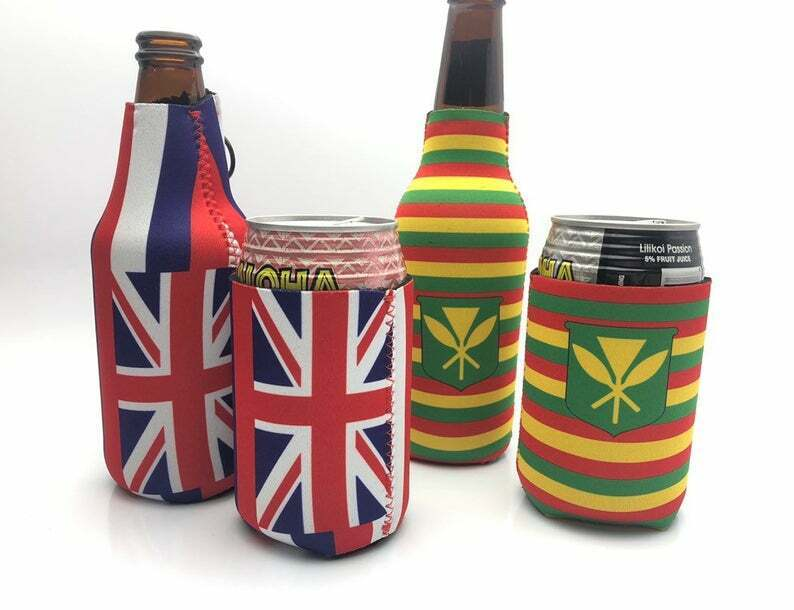 Beer and Soda Koozies foam cooler with Hawaii Flag and Kanak