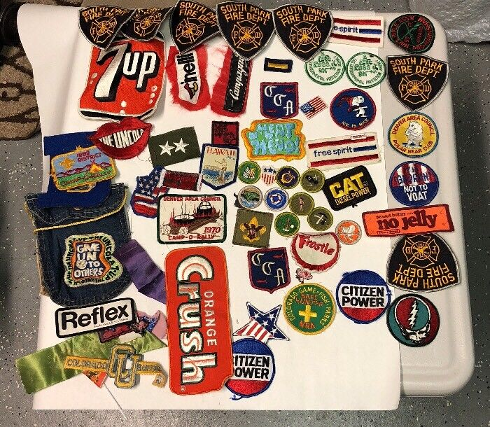 Old Boy Scout patches & Others Mixed Lot 7 Up,orange Crush, The Uncola 50+patch