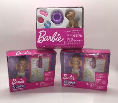 Lot of Barbie Skipper Babysitters Doll Baby Babies & Puppy Dog With Accessories