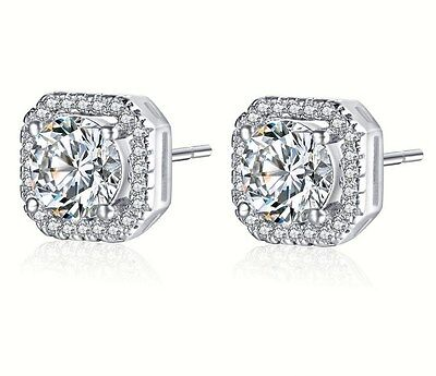Sterling Silver Pave Cubic Zirconia 8mm Square Round Stud Earrings Gift Box S1