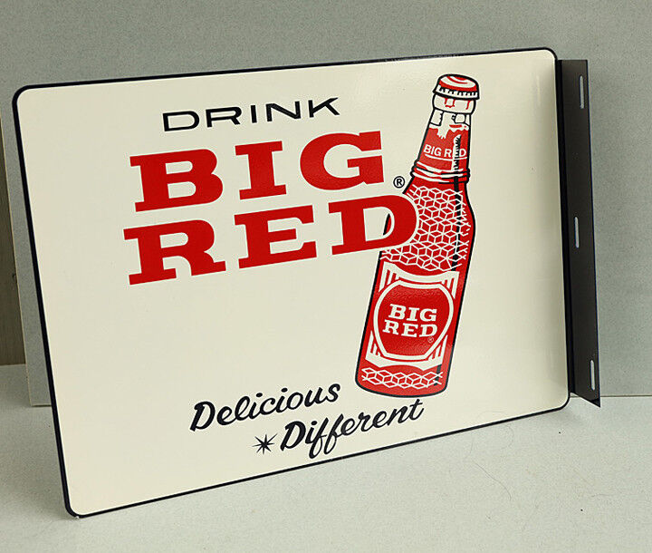 BIG RED SODA POP  FLANGE SIGN With Bottle  Modern Retro   coke