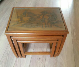 Solid asian style wooden sidetable / nest of tables
