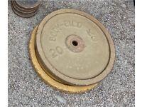 "2x20kg cast iron weights 1"""
