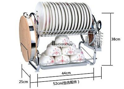 2-Tier - Stainless Steel Kitchen Dish Plate Rack Utensil Holder Drainer Drying