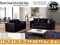 Crushed Velvet Corner Sofa or 3 and 2 Set Black / Brown Saranac