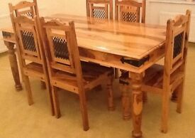Solid wood table and chair with matching side board and mirror