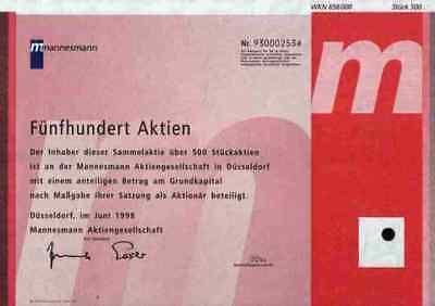 Mannesmann AG Düsseldorf 1998 ESSER Vodafone D2 Arcor 500er Stückaktie Mobilfunk
