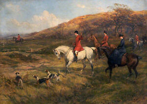 Hunting Scene    by Heywood Hardy   Giclee Canvas Print Repro