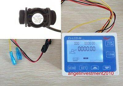 New 34 Water Flow Control Lcd Meter Flow Sensor