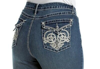 EARL JEANS Slim Bootcut Size 18W  Embroidered  Bling Me Super Cute!