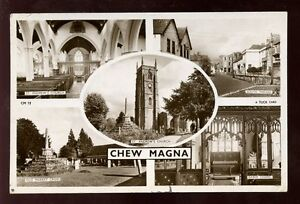 Somerset-CHEW-MAGNA-multiview-RP-PPC-by-Tuck-mailed-from-Chew-1954-post-mark