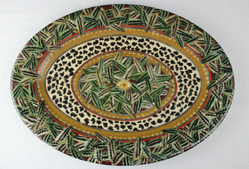 """18"""" Famille style Bamboo leaves & leopard print oval platter Chinese porcelain"""