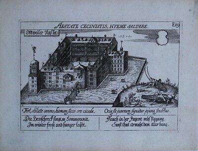 1638 Ottweiler Kupferstich Gesamtansicht aus Meisner (Meissner) Schatzkästlein