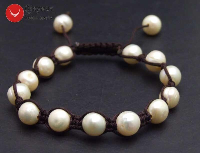 """9-10 mm blanc naturel perle Bracelet Pour Femmes Chine soie Handwork Weave 7-10/"""""""