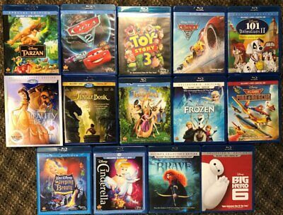 LOT OF 14 DISNEY BLU RAY DVD FROZEN TOY STORY BEAUTY AND THE BEST FREE