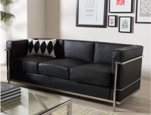 Black leather couch, new