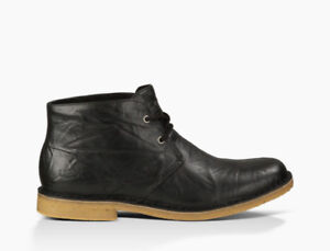 Mens UGG Leighton Black Leather Boots