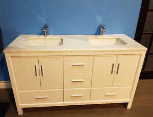 "60"" Solid Wood Vanity with Marble Top, Double sink - Hot Deal!"