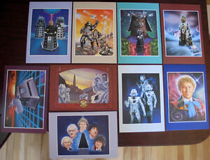 DOCTOR WHO ANDREW SKILLETER ART FULL SET 9 CARDS 1985 22 x 15cm