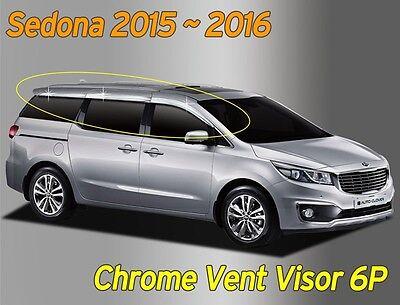 Chrome Window Visor Sun Rain Vent Guard Silver 6P C584 for KIA Sedona 2016~2021