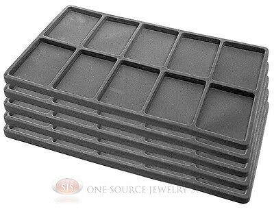 5 Gray Insert Tray Liners W/ 10 Compartments Drawer Organizer Jewelry Displays