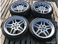"BMW E34 E32 E38 M Parallel Staggered 18"" Alloys & tyres VGC 5x120 8j 9.5j"