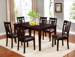 WOODEN DINING SET IN ESPRESSO FINISH WITH BONDED LEATHER CHAIRS