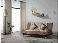CRUSHED VELVET SOFABED IN COFFEE/SILVER