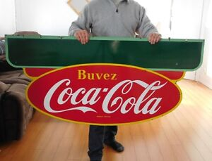 RARE ANTIQUE 1950 PORCELAIN SIGN DOUBLE SIDED EX COND 8.5/10