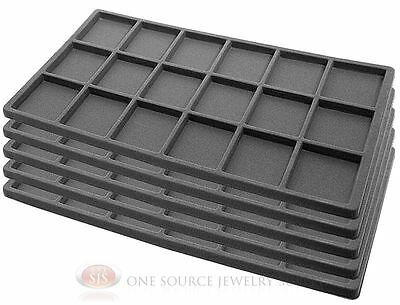 5 Gray Insert Tray Liners W 18 Compartments Drawer Organizer Jewelry Displays