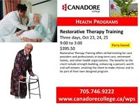 Restorative Therapy Training, Gravenhurst, Canadore College