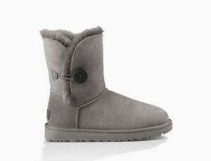 UGG Bailey Button II Grey Sheepskin Boots- New (Size 7)
