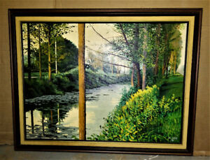 PAINTING Nice Vintage Oil Painting of a Small River-A WATT -1990