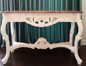 WHITE FRENCH INSPIRED CONSOLE WITH MARBLE TOP