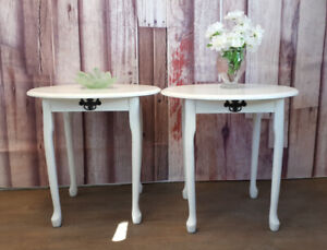 Matching White End or Night Tables Refinished  $150/pair