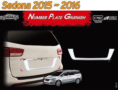 Number Plate Garnish Chrome Molding Trim C782 1P Silver for KIA Sedona 2016~2020