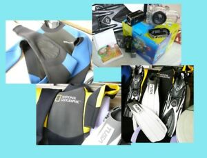 Snorkeling, Scuba Diving Fins, 3mm/2mm wet suite, camera housing