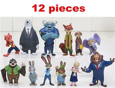 12pcs Zootopia Zootropolis Judy Hopps Nick Wilde Mr Big Mini Doll Toys Figures