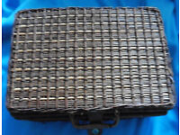 Vintage 1950s wicker large picnic basket hamper leather trimmed can send