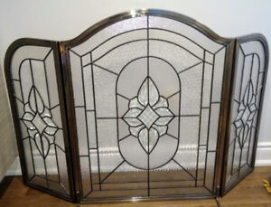 3 Panel Glass Fire Place Screen