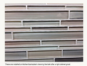 Glass tile for kitchen backsplash