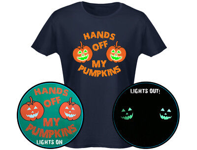 Hände über My Kürbisse Leuchtet Im Dunklen Damen Halloween T-Shirt (12 Farben)